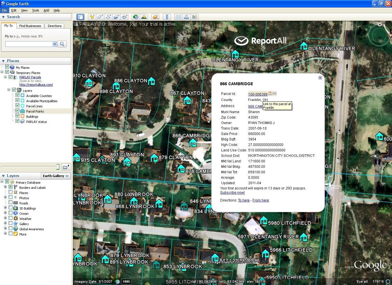 Google Earth Parcel Data and Google Maps Property Lines